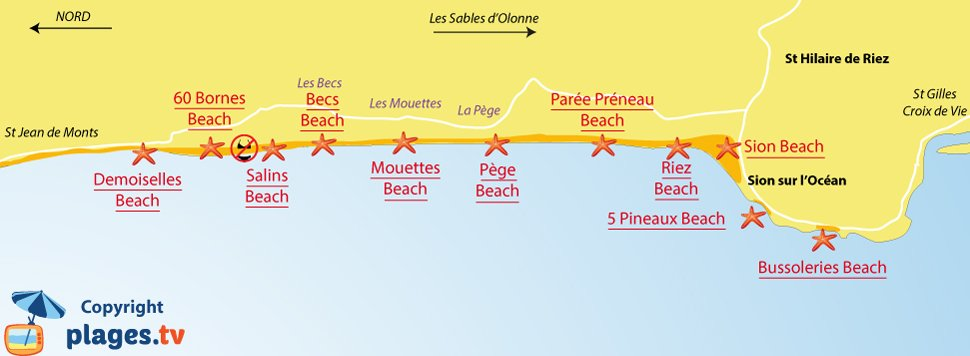 Map of Saint-Hilaire-de-Riez beaches in France