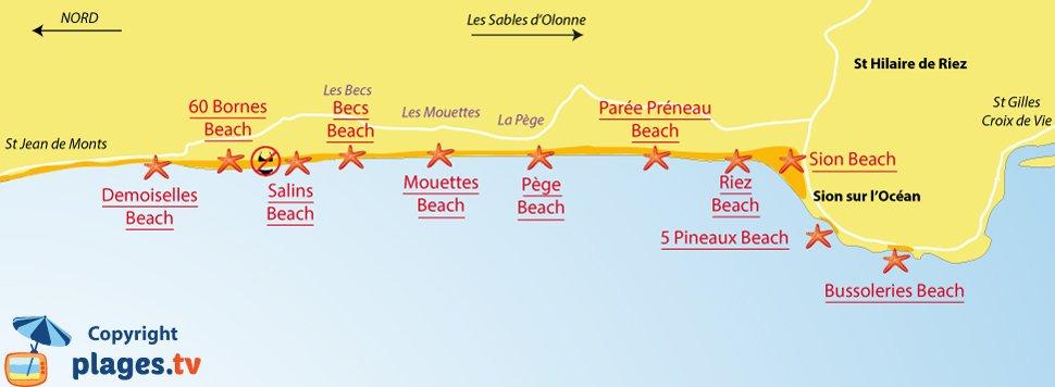 Map of Saint-Hilaire-de-Riez beaches in France