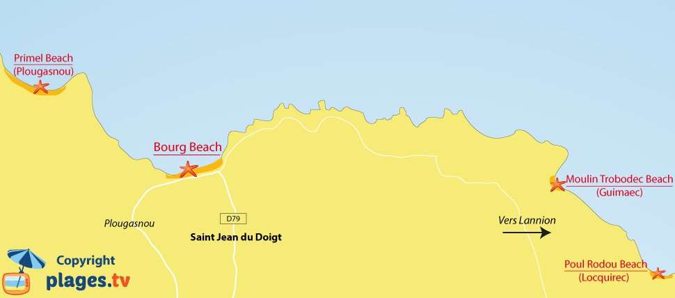 Map of St Jean du Doigt beaches in Brittany - France