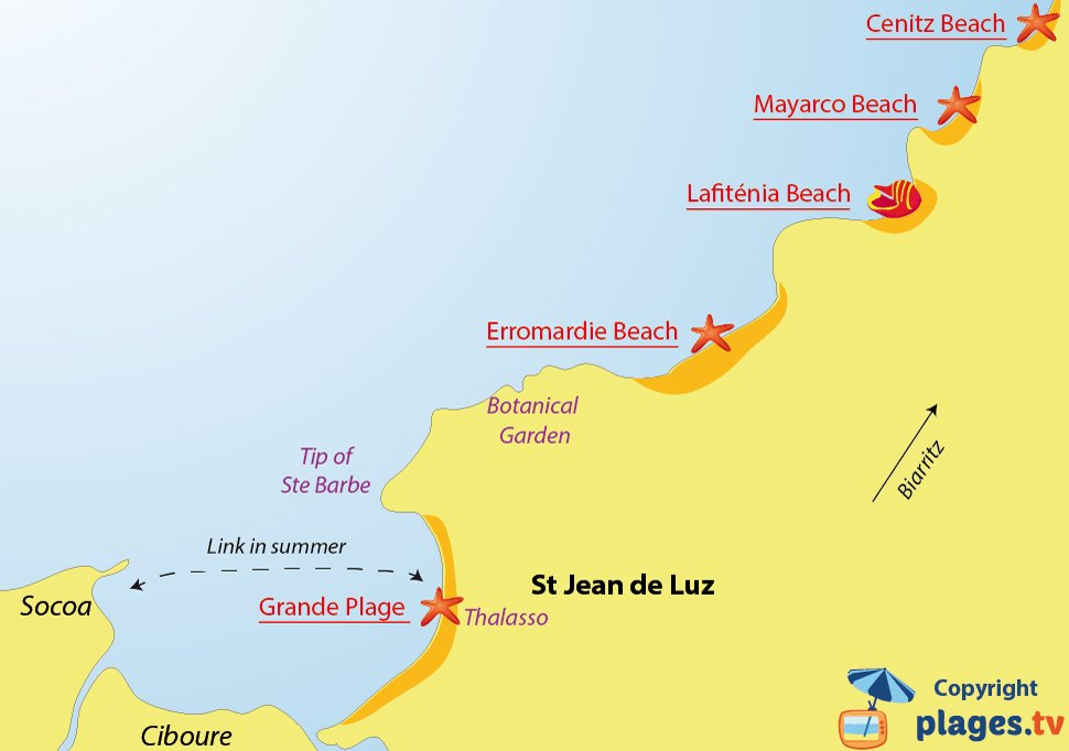 Map of Saint-Jean-de-Luz beaches in France