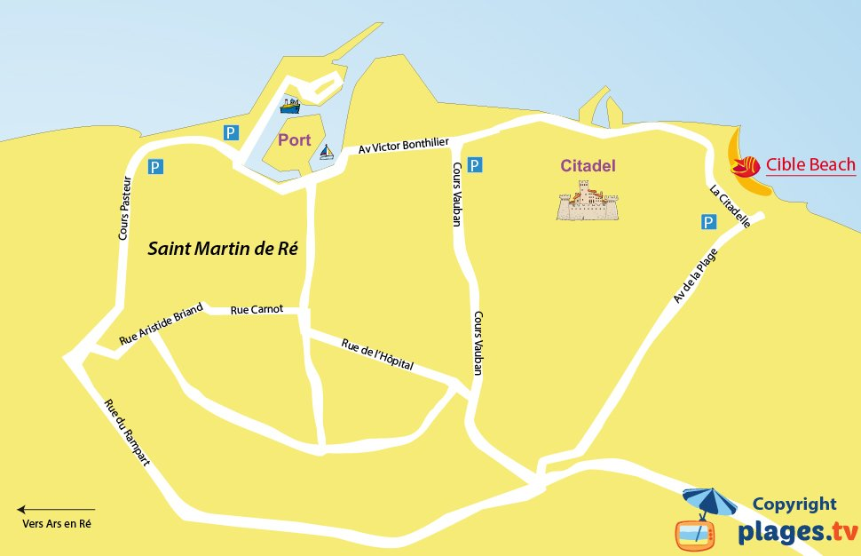 Map of the Saint-Martin-de-Ré beaches in France