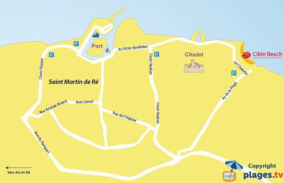 Map of the Saint-Martin-de-Ré beaches in France