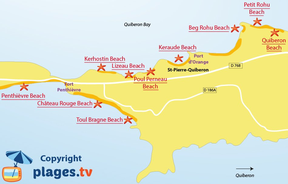 Map of Saint-Pierre-Quiberon beaches in France (Brittany)