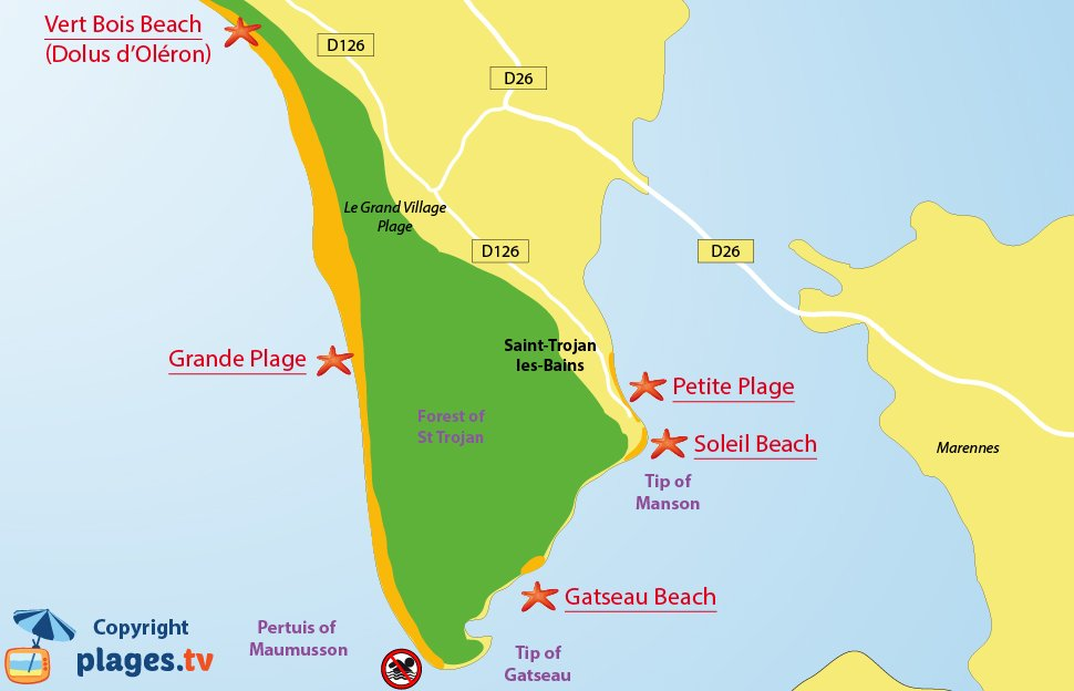 Map of Saint Trojan les Bains beaches in Oleron in France