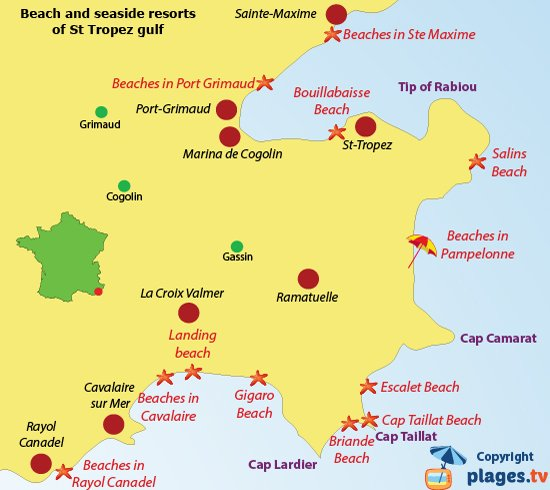 Map of beaches and seaside resorts of the gulf of Saint Tropez in France