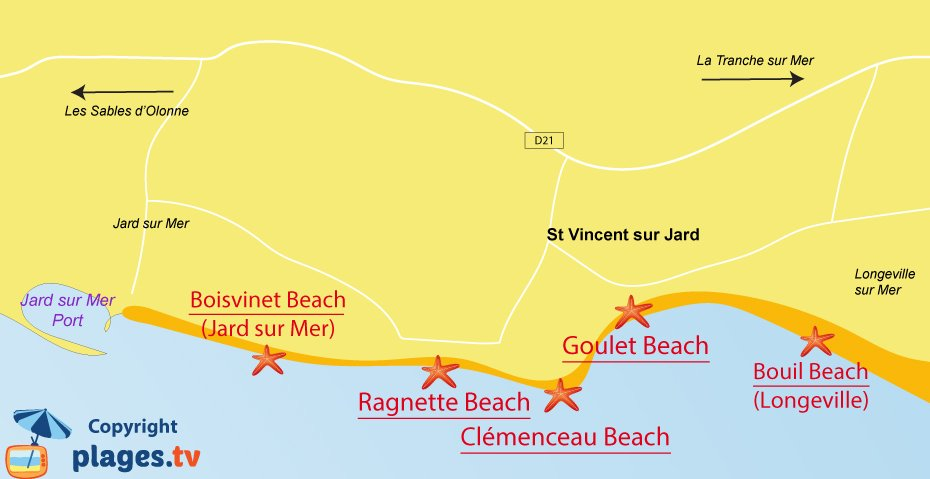 Map of Saint Vincent sur Jard beaches