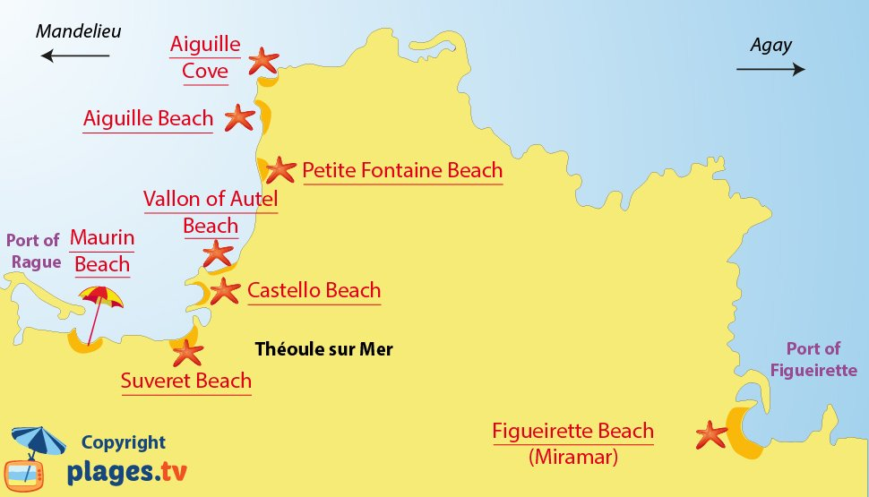 Map of Theoule sur Mer beaches in France