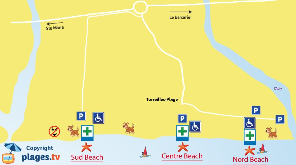 Map of Torreilles beaches in France