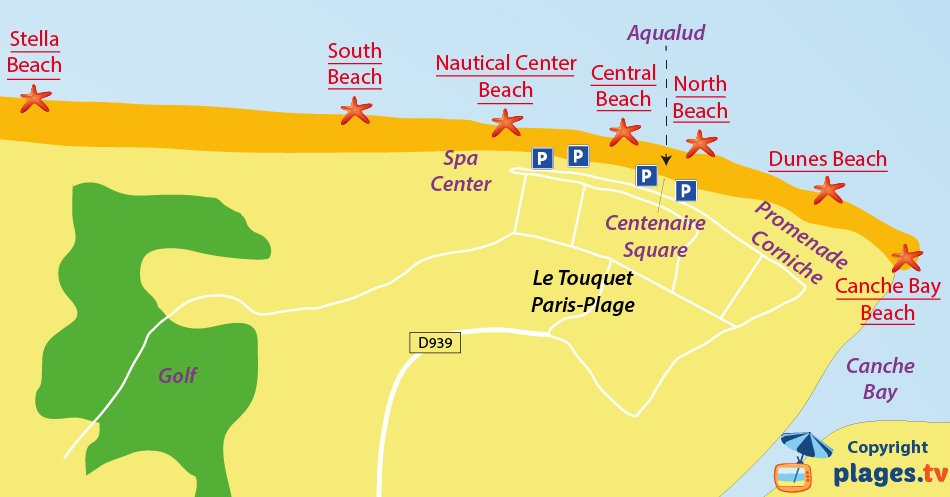 Map of Le Touquet beaches in France