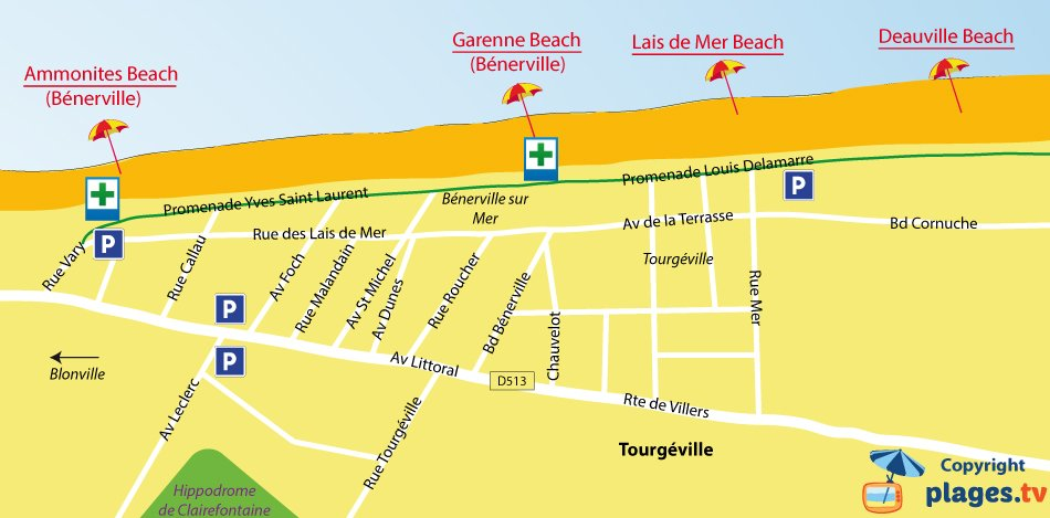 Map of Tourgeville beaches in Normandy