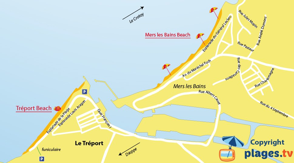Map of Treport Beach in France - Normandy