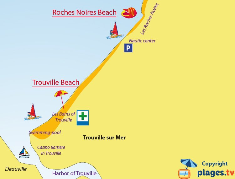 Map of the Trouville beaches in France
