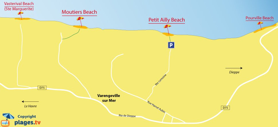 Map of Varengeville-sur-Mer beaches in France