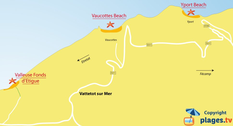 Map of Vattetot sur Mer beaches in France
