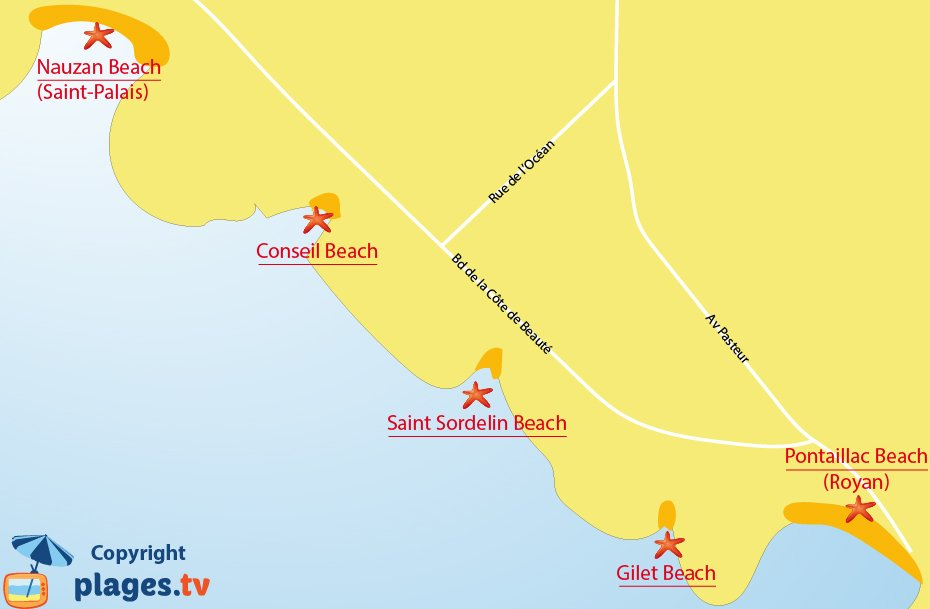 Map of Vaux sur Mer beaches in France
