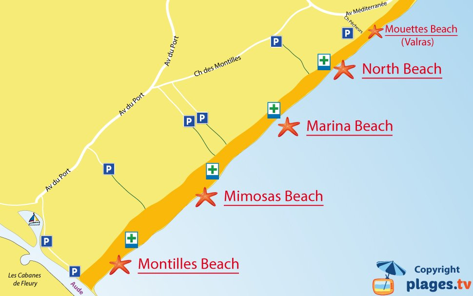 Map of Vendres beaches in France