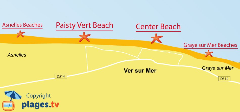 Map of Ver sur Mer beaches in France