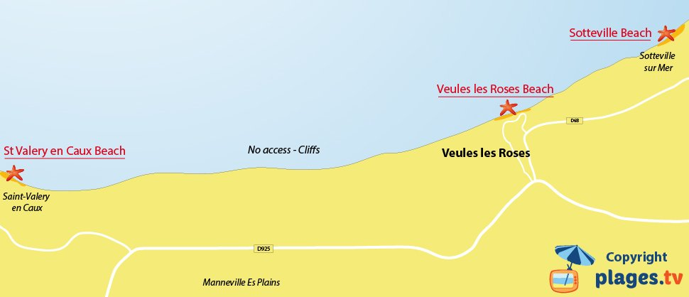 Map of Veules les Roses beaches in Normandy in France