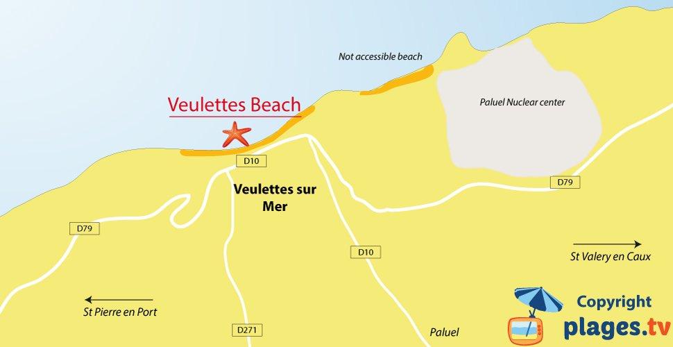 Map of Veulettes sur Mer beaches - France