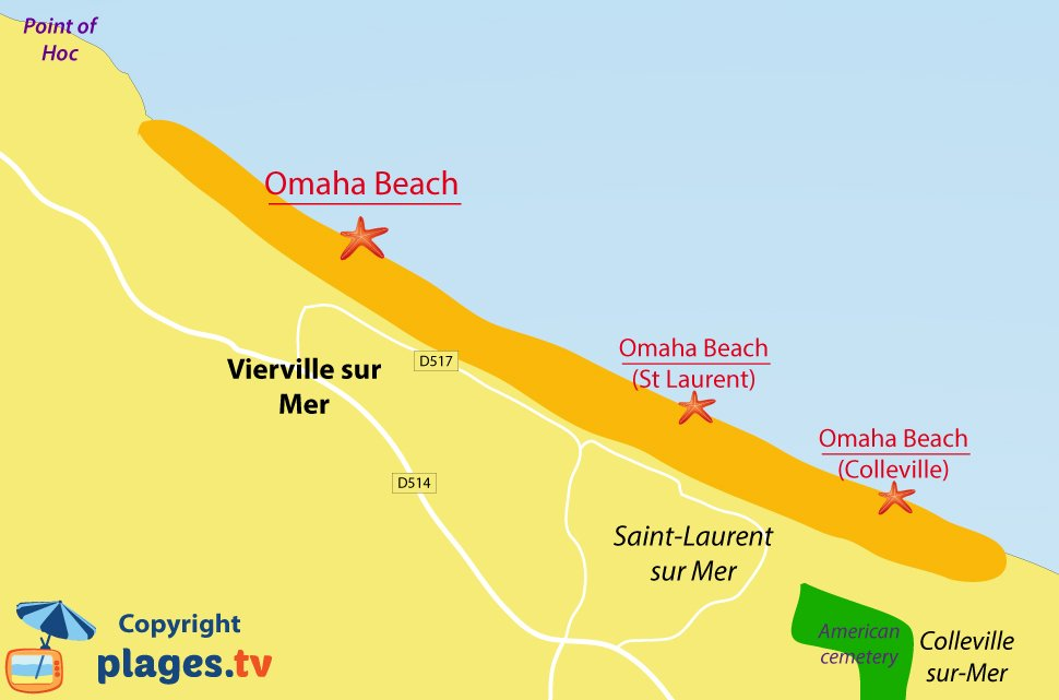 Map of Vierville sur Mer beaches in Normandy - France