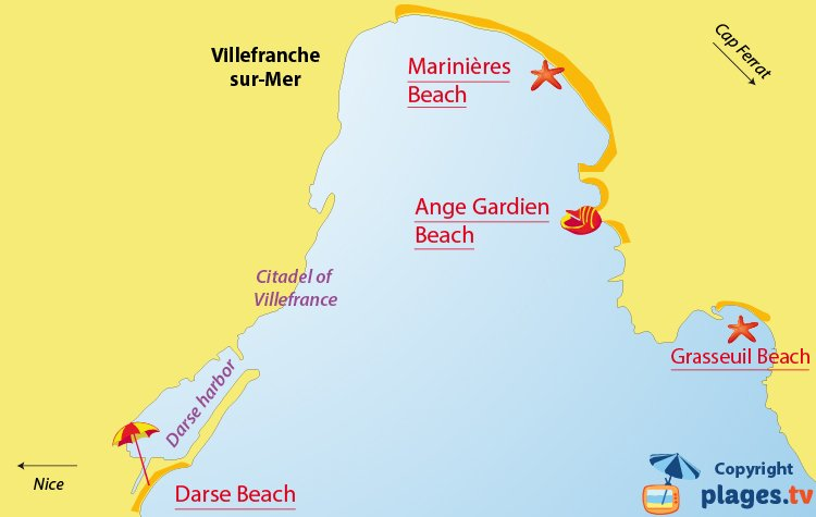 Map of the Villefranche sur Mer beaches in France