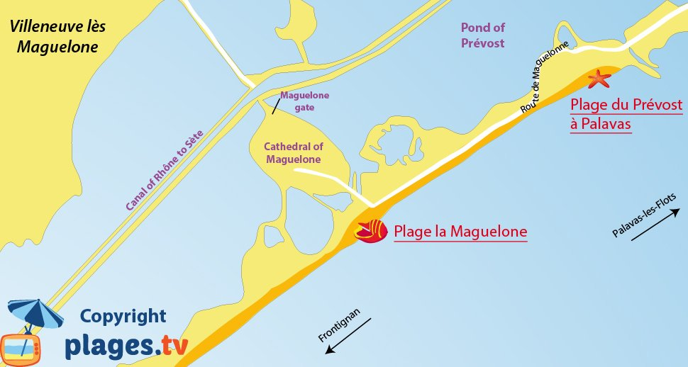 Map of Villeneuve les Maguelone beaches in France