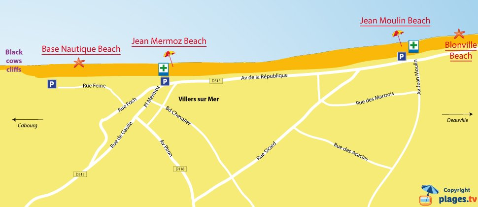 Map of Villers sur Mer beaches in Normandy - France