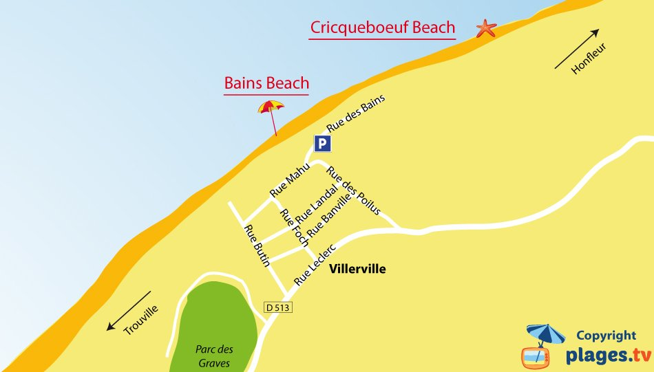 Map of Villerville beaches in Normandy