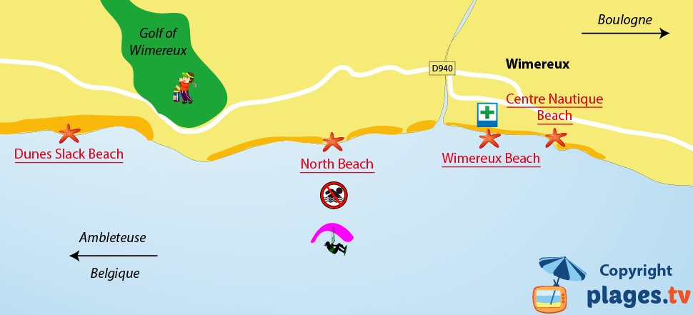 Map of Wimereux beaches in France