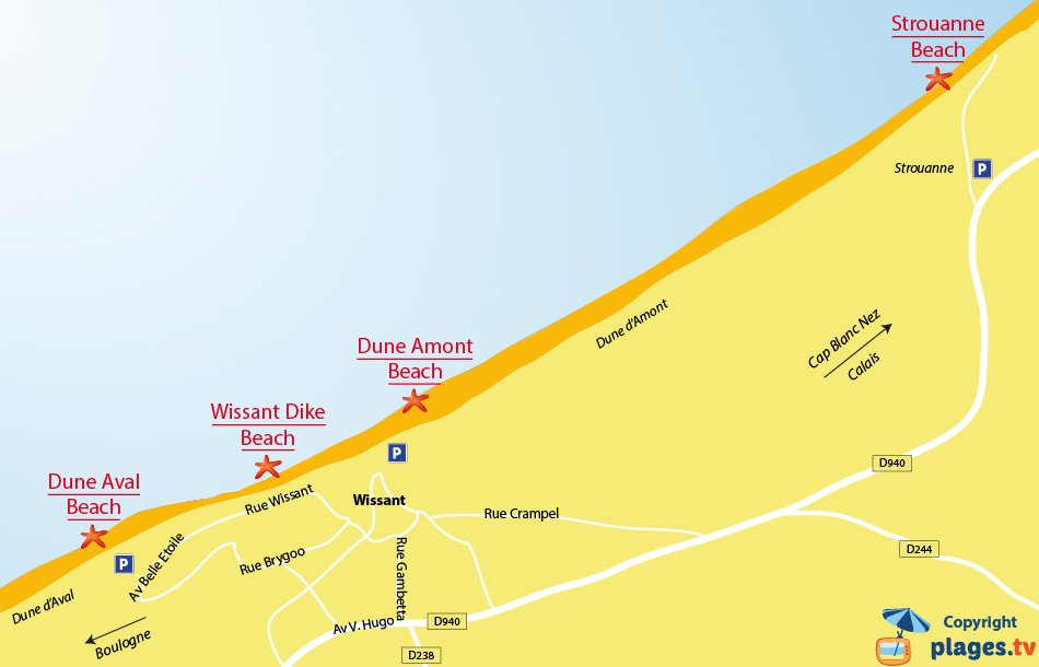 Map of the Wissant beaches in France