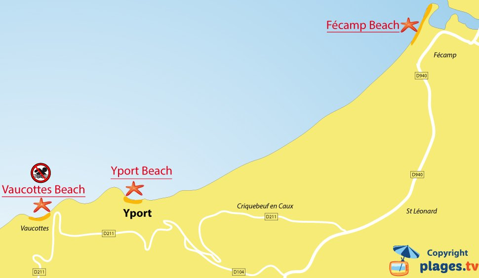 Map of Yport beaches in Normandy - France