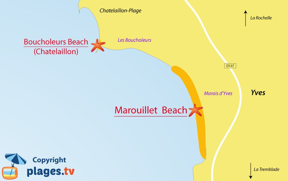 Map of Yves beaches in France