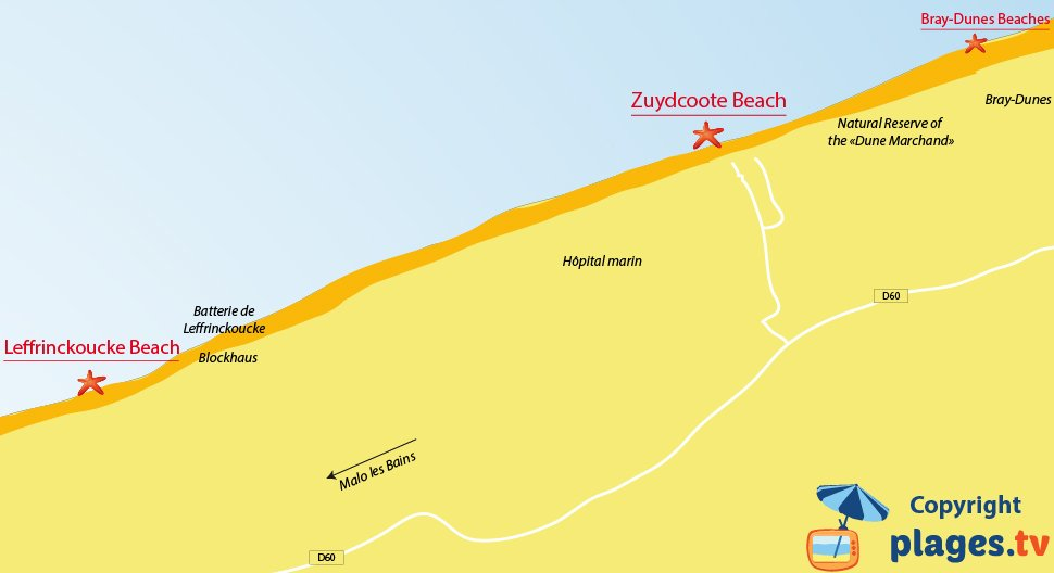 Map of Zuydcoote beaches in North of France