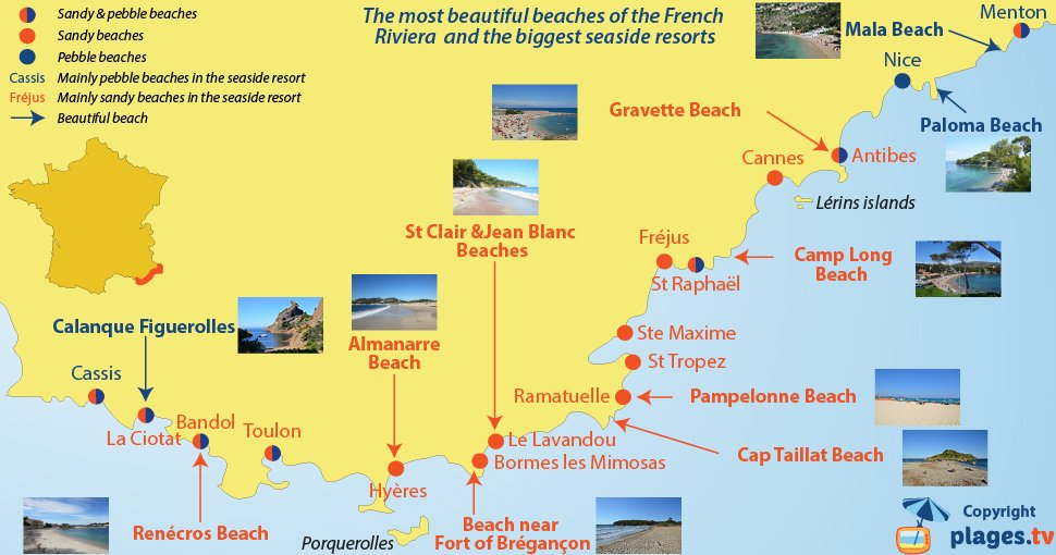 Most beautiful beaches of the French Riviera with the different seaside resorts