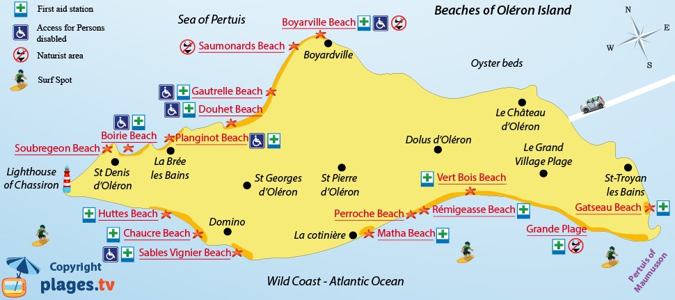 Map of most beautiful beaches of the island of Oléron in France