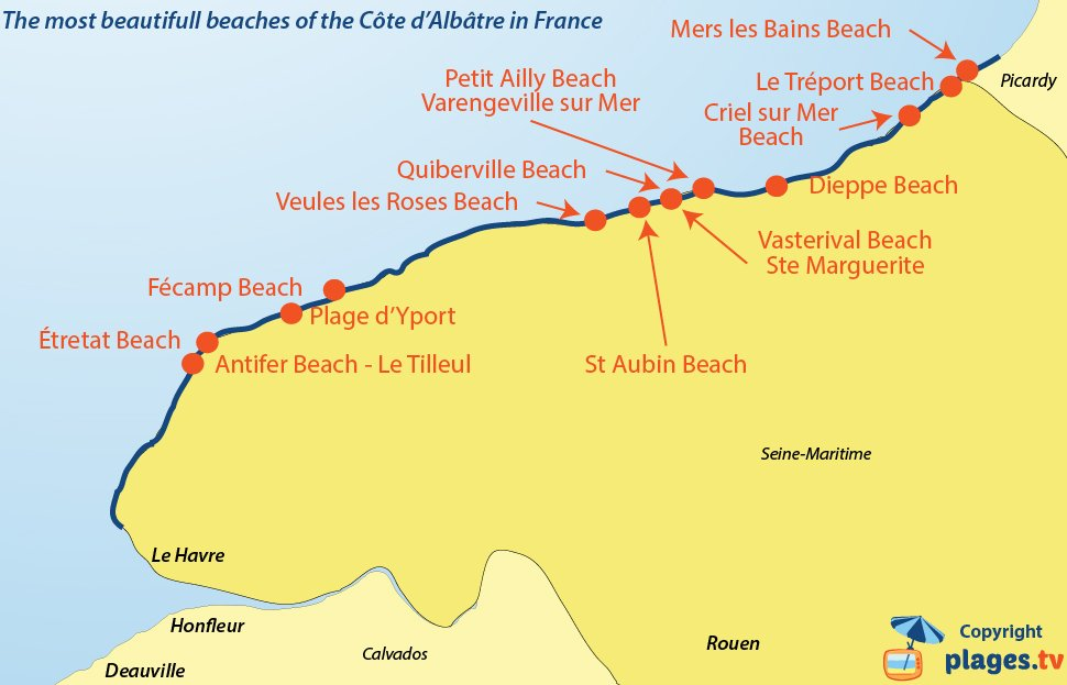 Map of beautifull beaches of the Cote d'Albatre in Normandy in France