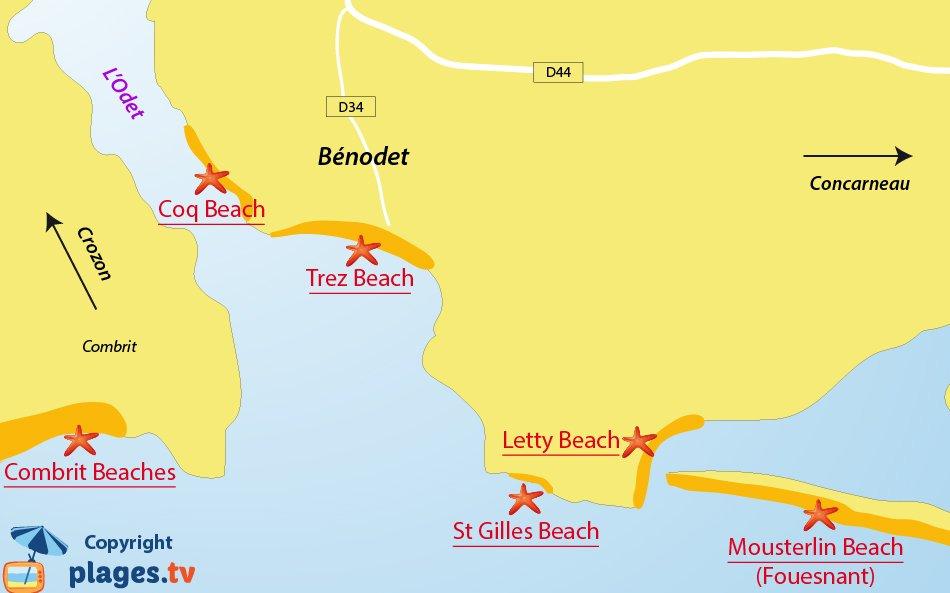 Map of Benodet beaches in France