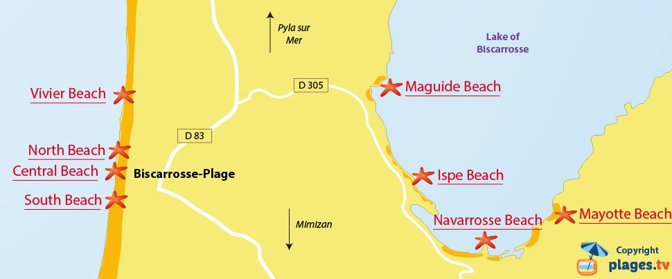 Map of Biscarrosse beaches in France