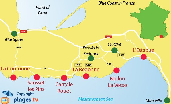Map of Cote Bleue (Blue Coast) in France
