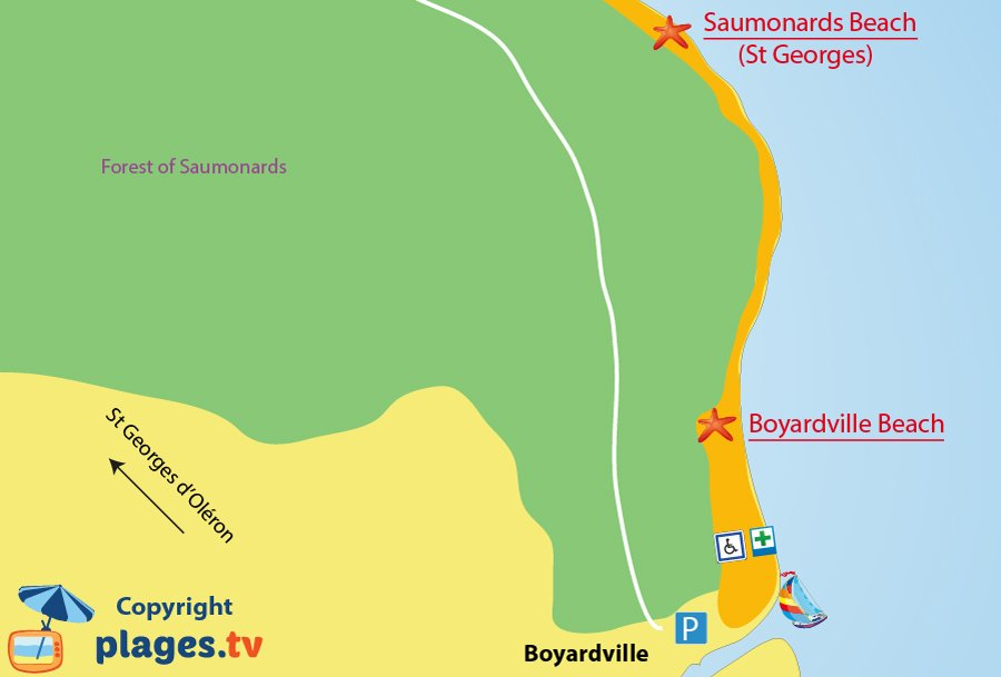 Map of Boyardville beaches in Oleron