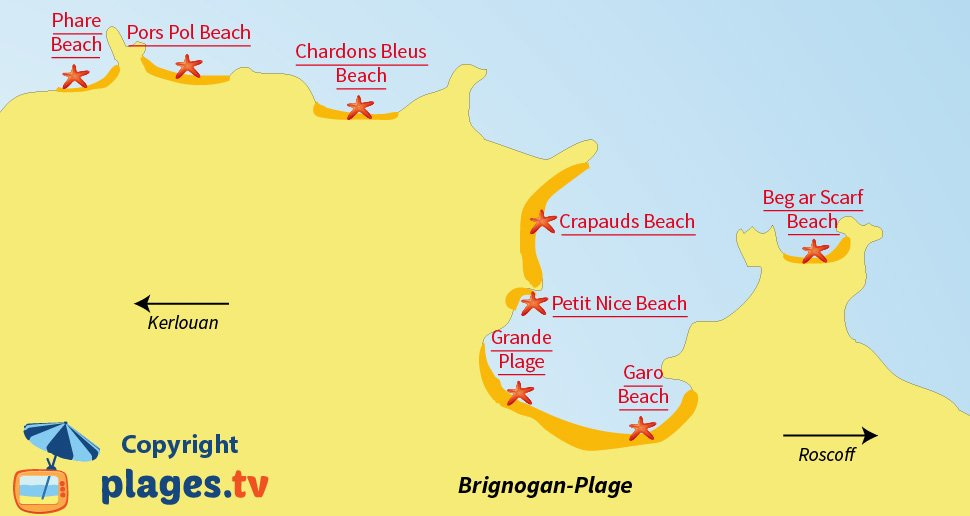 Map of Brignogan beaches in Brittany in France