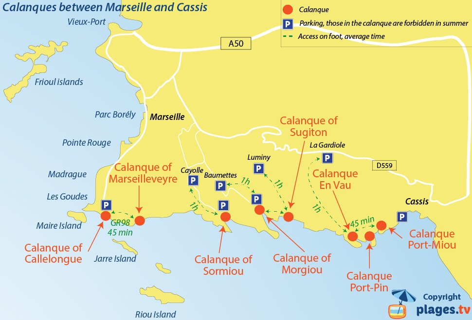 Map of calanques between Marseille and Cassis - South of France