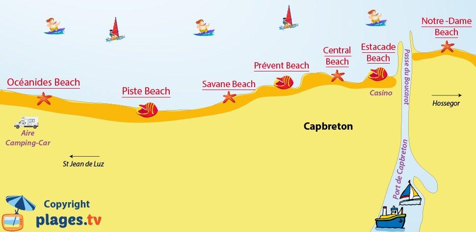 Map of Capbreton beaches - France