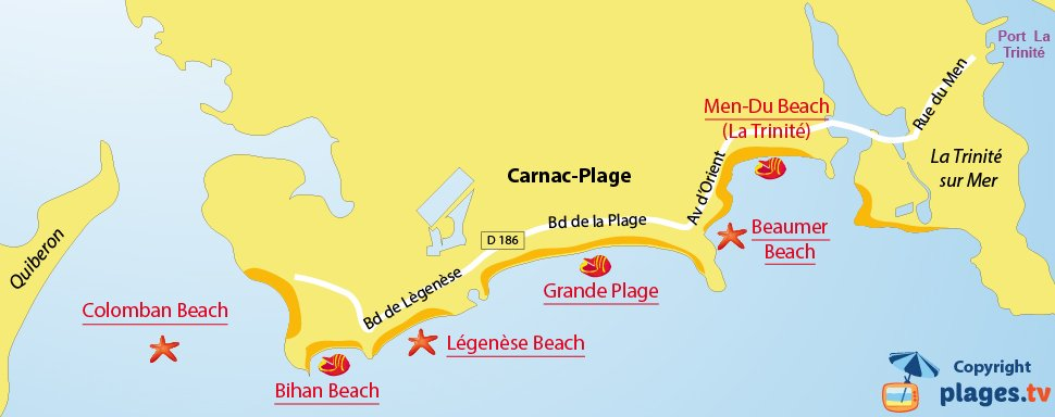 Map of Carnarc beaches in France - Brittany