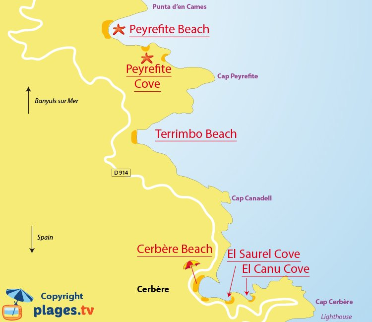Map of Cerbere beaches in France