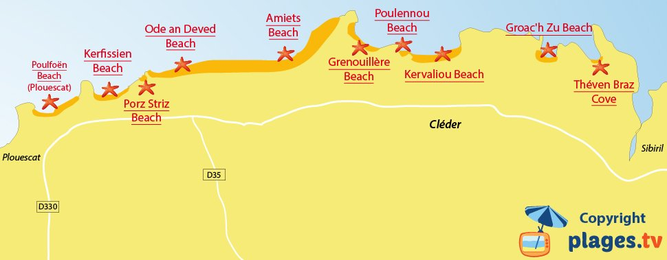 Map of Cléder beaches in Brittany
