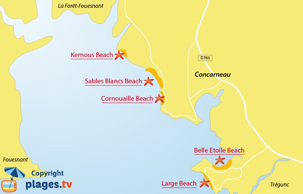 Map of Concarneau beaches in France