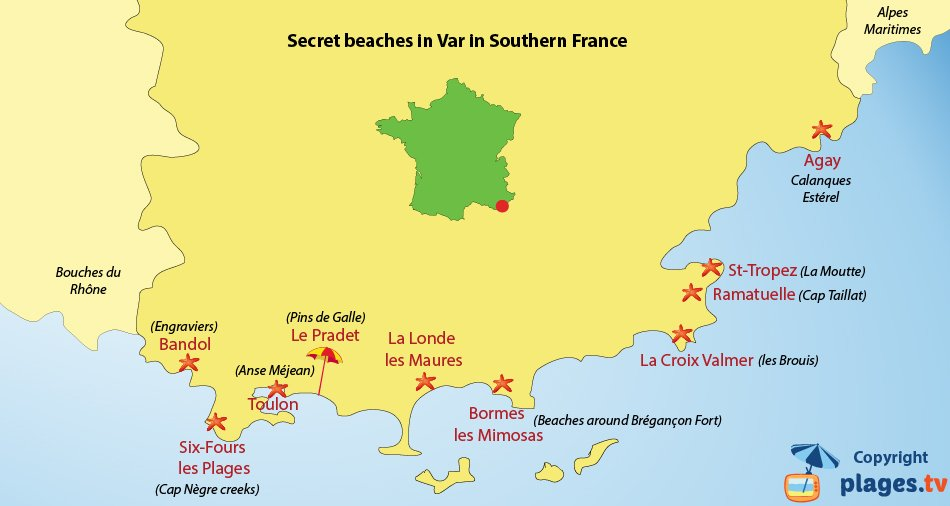 Map of confidential beaches in Var in southern France