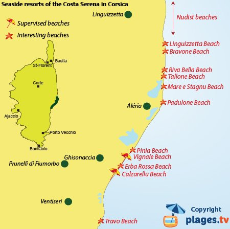 Map of Costa Serena beaches and resorts in Corsica