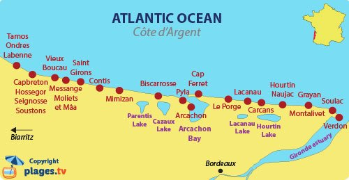 Map of Côte d'Argent coast in France
